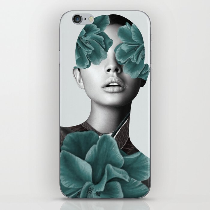 Floral Portrait (woman) iPhone Skin