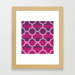 Plum Raspberry Quatrefoil Framed Art Print