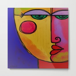 Colorful Abstract Face Digital Painting Metal Print