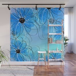 Cute Floral Sketch with Watercolors Wall Mural