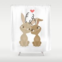 jackalope Shower Curtains featuring Jackalope Love by Sara Showalter