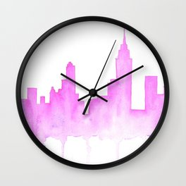 Bright Pink Watercolor NYC Skyline Wall Clock