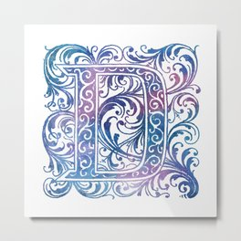 Letter D Antique Floral Letterpress Monogram Metal Print
