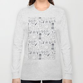 Black hand drawn ratatouille sketched pattern Long Sleeve T-shirt