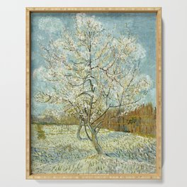 Vincent Van Gogh Peach Tree In Blossom Serving Tray