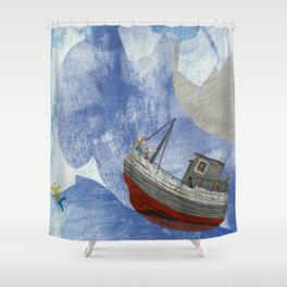 tossed to sea // jonah & the whale Shower Curtain