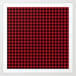 Winter red and black plaid christmas gifts minimal pattern plaids checked Art Print