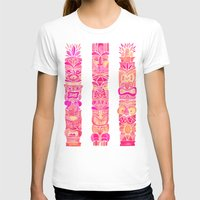 tiki T-shirts featuring Tiki Totems – Pink Palette by Cat Coquillette