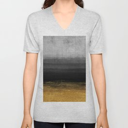 Black and Gold grunge stripes on modern grey concrete abstract background - Stripe -Striped Unisex V-Neck