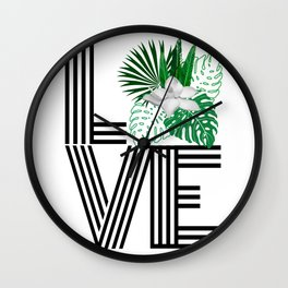 Love word tropical floral Wall Clock