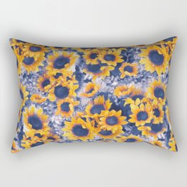 Sunflowers Blue Rectangular Pillow