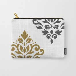 Scroll Damask Art I Gold & Grey on White Carry-All Pouch
