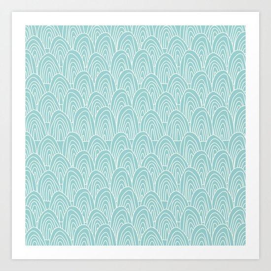 Blue Scribbles Pattern 09 Art Print