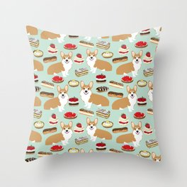 Corgi Patisserie Bakery French Parisian food, tarts, eclair, napoleon, cute food design Throw Pillow