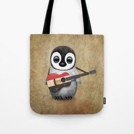 Baby Penguin Playing Egyptian Flag Acoustic Guitar Tote Bag