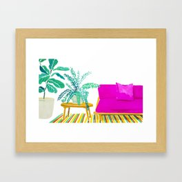 Pink Couch and Plants Framed Art Print