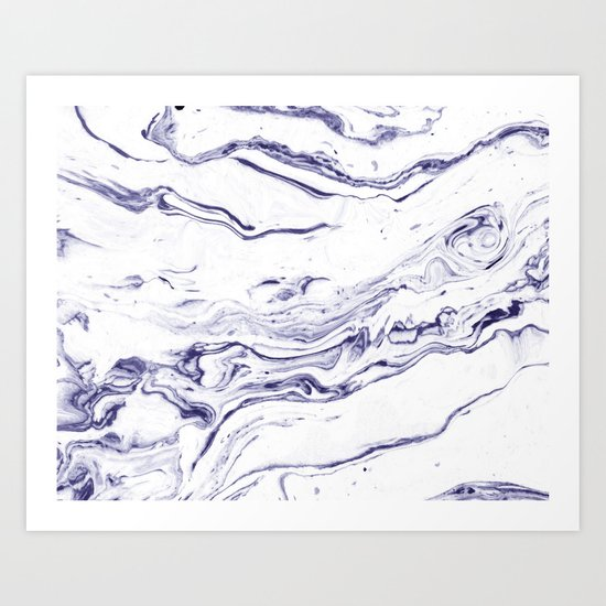 Navy Blue Marble #society6 #decor #marble Art Print