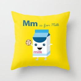 M is for Milk Throw Pillow