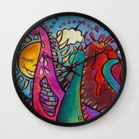 dinosaur Wall Clocks featuring Dinosaur by Valerie Parisius