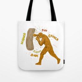 Boxer Hitting Punching Bag Drawing Tote Bag
