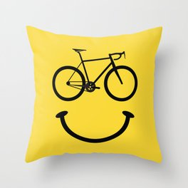 Bicycle Smiley Face Throw Pillow