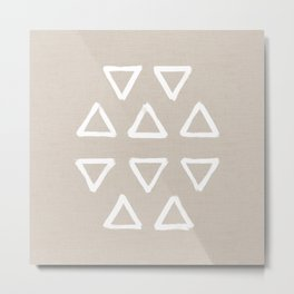 White ink brushed triangles pattern with textured warm neutral background Metal Print