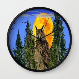 OWL WITH FULL MOON & TREES NATURE BLUE DESIGN Wall Clock