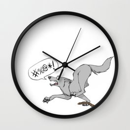 Profanity Wolf (Censored) Wall Clock