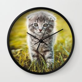 Small duckling playing with a little cat on green grass outdoors  Wall Clock