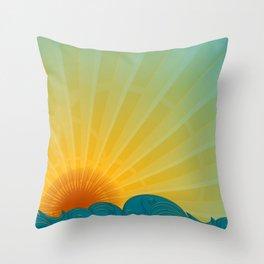 Vintage Ocean Sunset Throw Pillow
