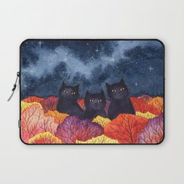 Three Black Cats in Autumn Watercolor Laptop Sleeve