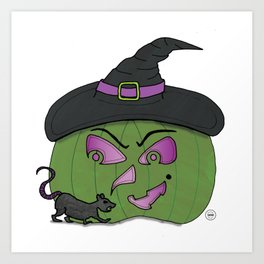 Witch Pumpkin Art Print