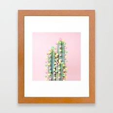 Marshmallow Cactus in Bloom Framed Art Print