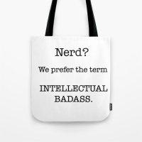 nerd Tote Bags featuring Nerd by redbigbike