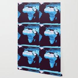 Classic Blue Gradient World Map Wallpaper