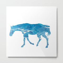 Light Blue Marble Thoroughbred Horse Silhouette Metal Print