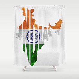 India World Map / Indian Typography Flag Map Art Shower Curtain