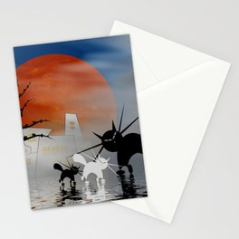mooncats and their city Stationery Cards
