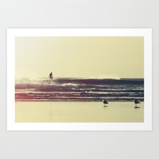 Sunset Surfers Art Print