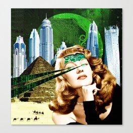Surreal Futuristic City Woman Canvas Print