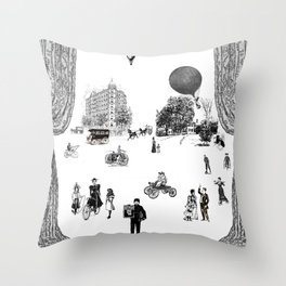 city view from window in 1898 vintage Victorian Throw Pillow