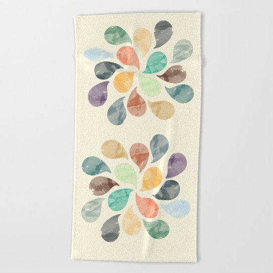 Colorful Water Drops (Watercolor version)  Beach Towel