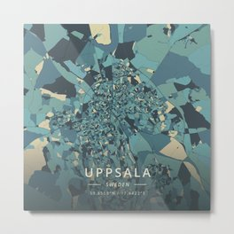 Uppsala, Sweden - Cream Blue Metal Print