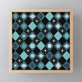 Mid Century Modern Black & Turquoise Diamonds Framed Mini Art Print