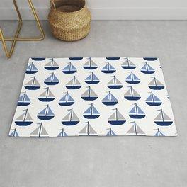 Nautical Sailboat Navy Blue Gray  Rug