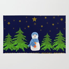 Sparkly gold stars, snowman and green tree Rug
