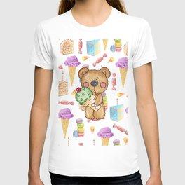 Birthday Boy Bear Cake and Ice Cream Yummy T-shirt
