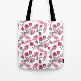 Watercolor . Floral pattern with bird feather .1 Tote Bag