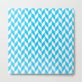 Maritime Aqua Teal Chevron Herringbone ZigZag - Mix & Match Metal Print