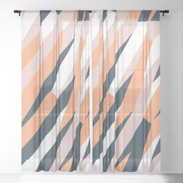 Pink and navy blue pattern Sheer Curtain
